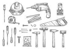 Icônes de croquis de vecteur des outils de travail de réparation illustration libre de droits