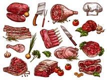 Icônes de croquis de vecteur de viande fraîche de boucherie illustration de vecteur