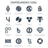 Icônes de Cryptocurrency sur le fond blanc Images libres de droits