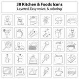 Icônes de cuisine et de nourritures Illustration de Vecteur
