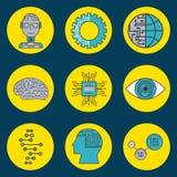 Icônes de cyber d'innovation de technologie d'intelligence artificielle illustration de vecteur
