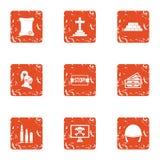 Icônes de défi réglées, style grunge illustration stock