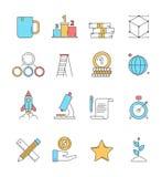 Icônes de démarrage colorées Les investisseurs parfaits d'esprit d'entreprise de rêves d'idée d'innovation de plan d'action dirig illustration stock