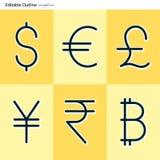 Icônes de devise, dollar, euro, Yen, roupie, livre, bitcoin, devise, argent d'affaires de finances de Cryptocurrency illustration de vecteur