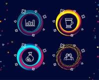 Icônes de diagramme d'argent liquide, de Latte et de rapport Donnez le signe actuel Devise d'opérations bancaires, boisson de caf illustration stock