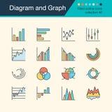 Icônes de diagramme et de graphique Collection remplie 56 de conception d'ensemble Les FO illustration stock