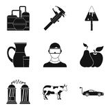 Icônes de diligence réglées, style simple illustration stock