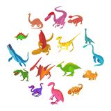 Icônes de dinosaure réglées, style de bande dessinée Illustration Stock