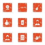 Icônes de document d'amour réglées, style grunge illustration stock