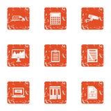 Icônes de document de dossier réglées, style grunge illustration de vecteur