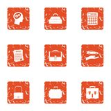 Icônes de document sur papier réglées, style grunge illustration de vecteur