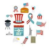 Icônes de drapeau de Jour de la Déclaration d'Indépendance réglées dans le style plat Photographie stock