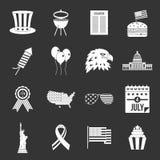 Icônes de drapeau de Jour de la Déclaration d'Indépendance réglées grises illustration de vecteur