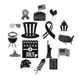 Icônes de drapeau de Jour de la Déclaration d'Indépendance réglées, style simple Image libre de droits
