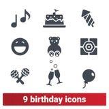 Icônes de fête d'anniversaire Célébration de vacances de famille illustration de vecteur