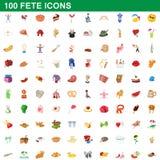 100 icônes de fête réglées, style de bande dessinée illustration de vecteur