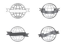Icônes de fête de rubans réglées autour d'un globe illustration libre de droits