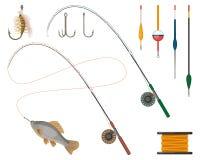 Icônes de fabricants et de fournisseurs de pêche réglées Tige de bobine et de pêche illustration libre de droits