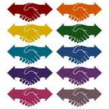 Icônes de flèches de secousse de main d'association réglées illustration libre de droits