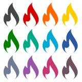 Icônes de flamme de gaz réglées illustration stock