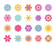 Icônes de fleur de bande dessinée Autocollants d'été et modèle mignons de nature, rétro ensemble de clipart (images graphiques) d illustration de vecteur