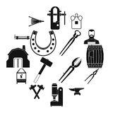 Icônes de forgeron réglées, style simple Photographie stock libre de droits