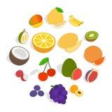 Icônes de fruit réglées, style 3d isométrique illustration stock