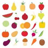 Icônes de fruits et légumes réglées sur le fond blanc pour le graphique et la conception web, signe simple moderne de vecteur Int illustration libre de droits