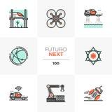Icônes de Futuro de future technologie prochaines illustration stock