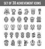 Icônes de gagnant d'accomplissement Placez du gagnant de 30 ensembles que les icônes ont inclus la médaille de rang de trophée de illustration stock