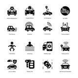 Icônes de Glyph de détecteur d'entraînement et de voiture illustration de vecteur