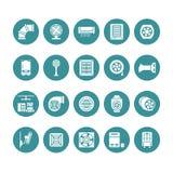 Icônes de glyph d'équipement de ventilation Climatisation, appareils de refroidissement, ventilateur d'extraction Ménage et indus illustration libre de droits