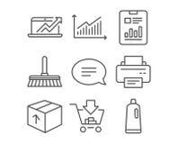 Icônes de graphique, de ventes diagramme et de paquet Rapportez le document, le balai de nettoyage et les signes de achat illustration libre de droits