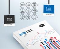 Icônes de graphique, de ventes diagramme et de paquet Rapportez le document, le balai de nettoyage et les signes de achat illustration de vecteur