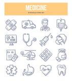 Icônes de griffonnage de médecine illustration libre de droits