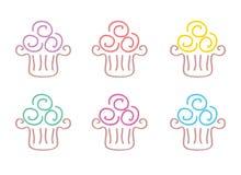 Icônes de griffonnage de petit gâteau illustration stock