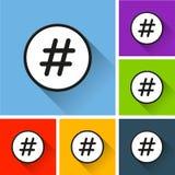 Icônes de Hashtag avec la longue ombre Image stock