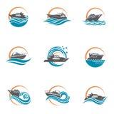 Icônes de hors-bord et de yacht illustration de vecteur