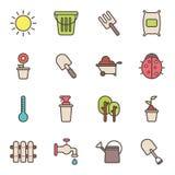 Icônes de jardinage et d'agriculture Photo libre de droits