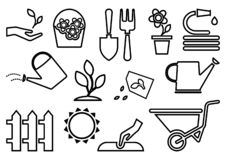 Icônes de jardinage noires Illustration de vecteur illustration stock