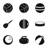 Icônes de jeu de sport réglées, style simple Photographie stock libre de droits