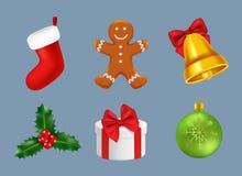 Icônes de Joyeux Noël réalistes Célébrations de saison d'hiver de vecteur de bonhomme de neige de renne de sucrerie de Santa d'ar illustration de vecteur