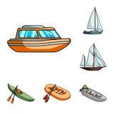 Icônes de l'eau et de bande dessinée de transport maritime dans la collection d'ensemble pour la conception Un grand choix de bat Images libres de droits