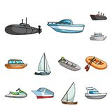 Icônes de l'eau et de bande dessinée de transport maritime dans la collection d'ensemble pour la conception Un grand choix de bat Image libre de droits