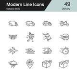 Icônes de la livraison La ligne moderne conception a placé 49 Pour la présentation, conception graphique, application mobile illustration stock