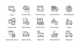 Icônes de la livraison de logistique de hippie Images libres de droits