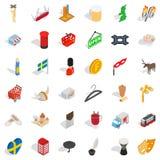 Icônes de la Suède réglées, style isométrique Images libres de droits