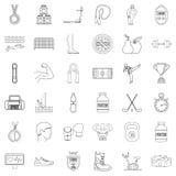 Icônes de la vie de sport réglées, style d'ensemble Images libres de droits