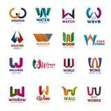 Icônes de lettre de W et vecteur créatif de polices de signes illustration libre de droits