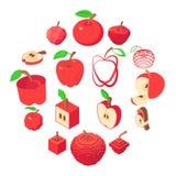 Icônes de logo d'Apple réglées, style isométrique illustration libre de droits